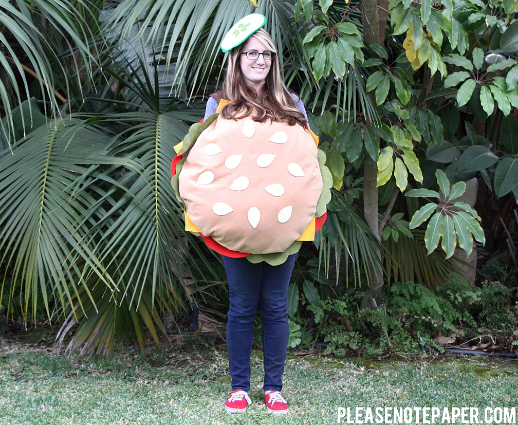 Please note diy no sew burger costume thats it i made my pickle hat by sandwiching a piece of cardstock between two green pieces of felt and gluing the entire thing to an elastic headband solutioingenieria Choice Image