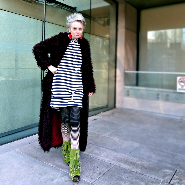 Melanie Kobayashi, Bag and a Beret, maxi faux fur coat and Fluevog boots