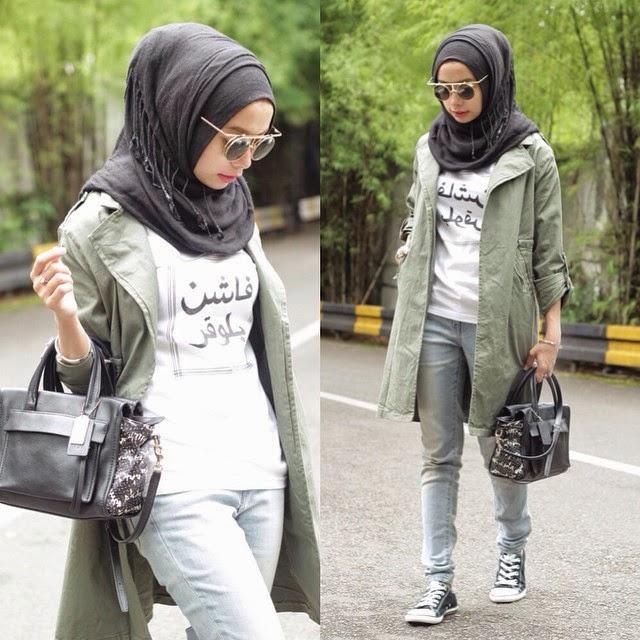 Hasil gambar untuk foto wanita berhijab memakai celana jeans