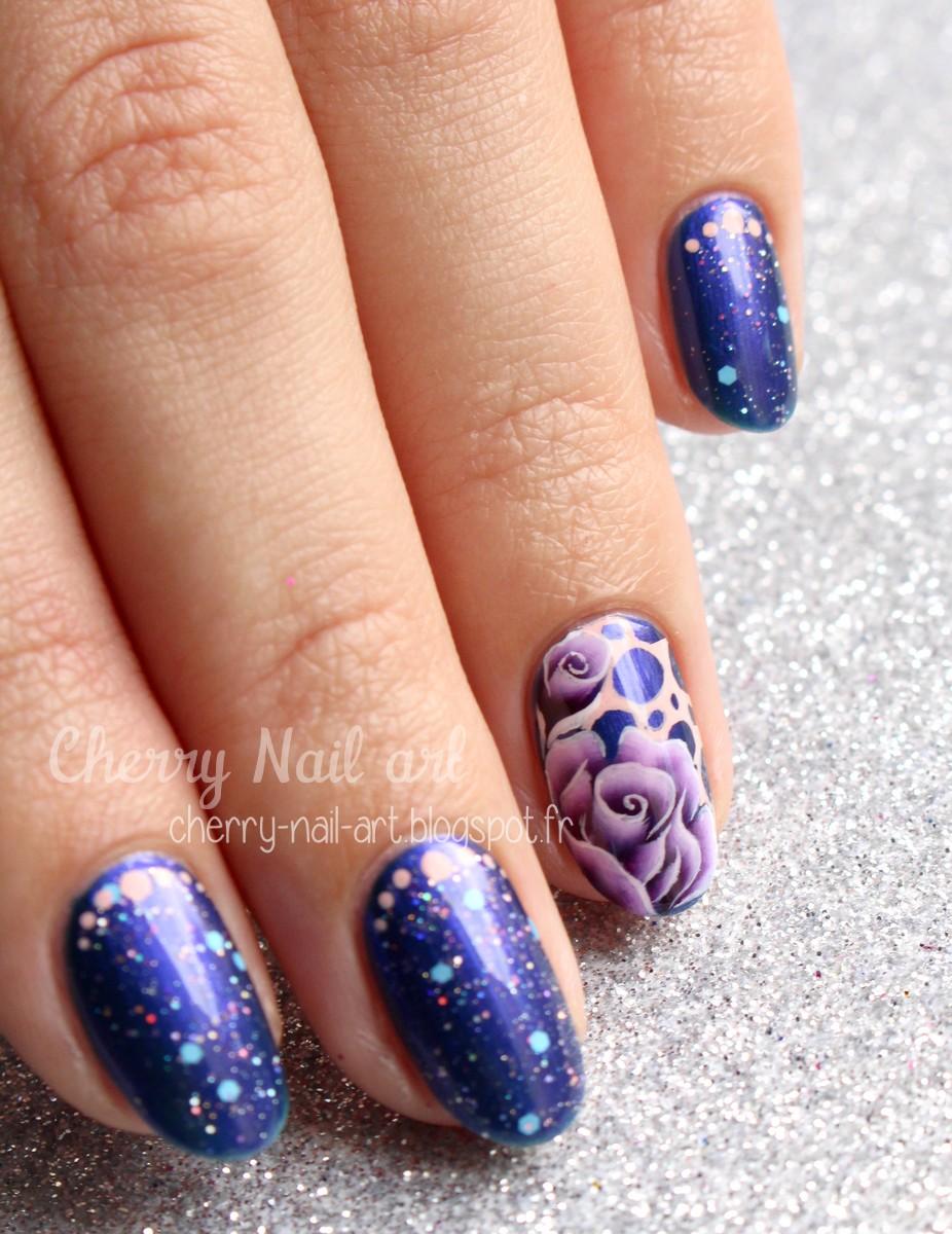 nail art fleurs one stroke et bulles abstrait