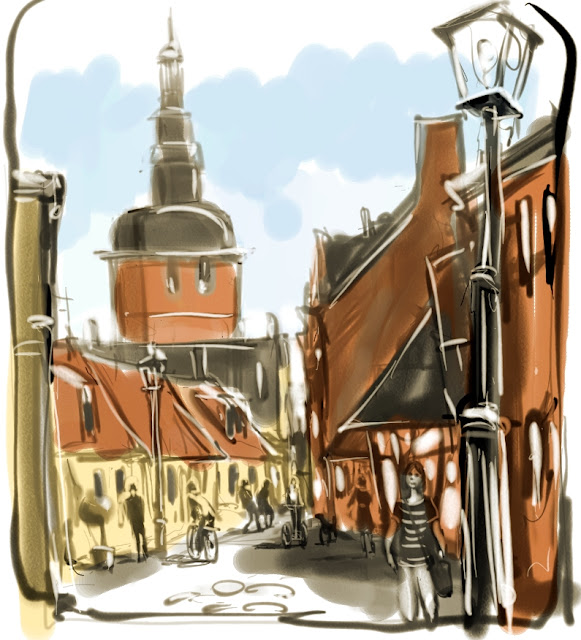 Urban Sketch of Ystad by Artmagenta