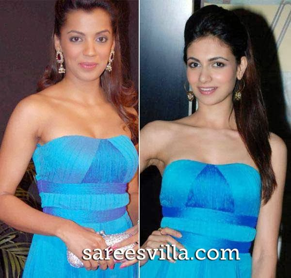Mugdha Godse and Simran Kaur Mundi in same dress