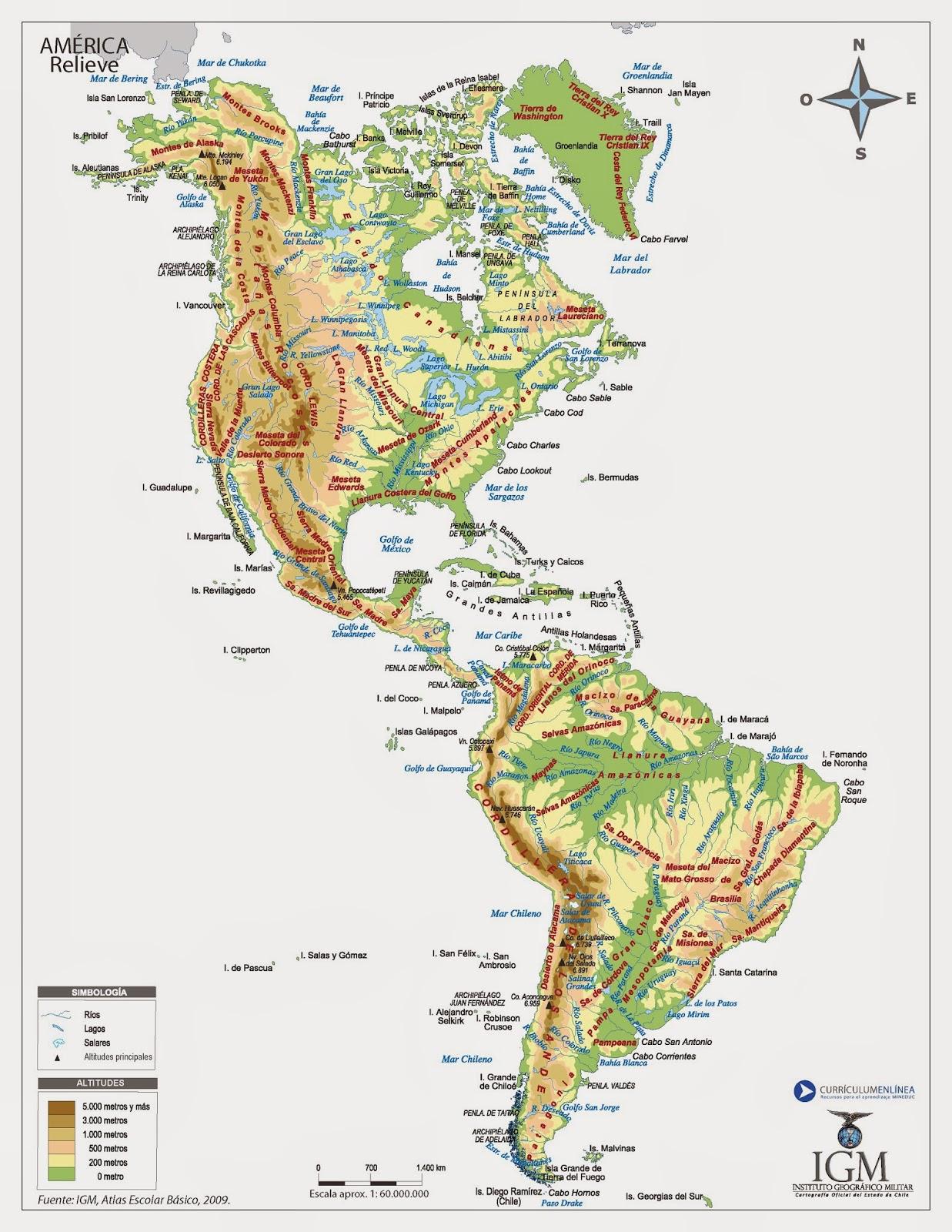 Mapa Accidentes Costeros De America