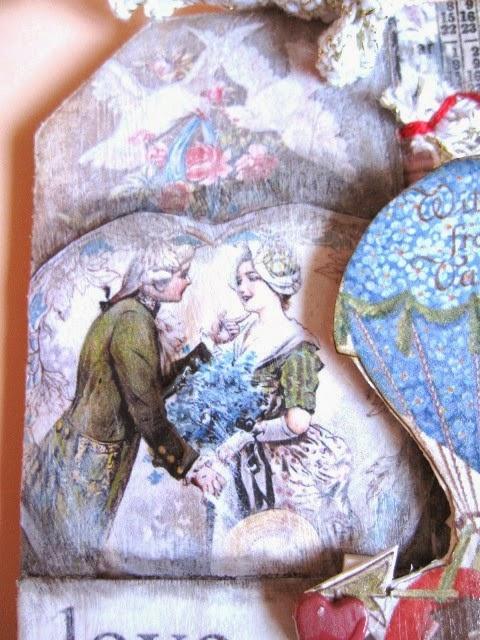 detalle pareja s. XVIII tag febrero vintage y romántico para San Valentín