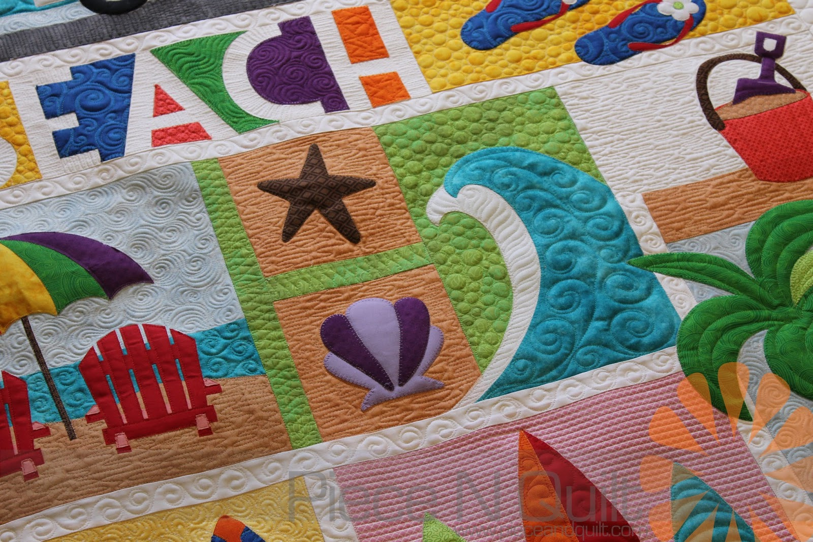 Piece N Quilt: Beach Break - Custom Machine Quilting by Natalia Bonner : beach themed quilt patterns - Adamdwight.com