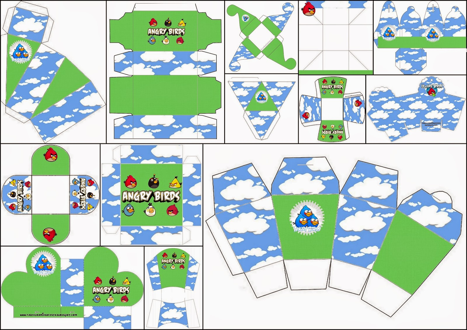 Angry Birds with Clouds: Free Printable Boxes.
