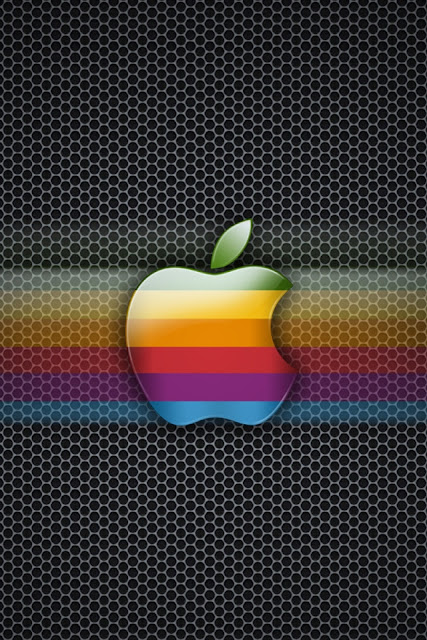 Exagon Rainbow Apple iPhone Wallpaper By TipTechNews.com