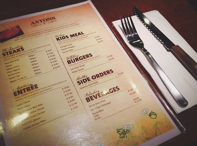 Astons Steak & Salad Menu