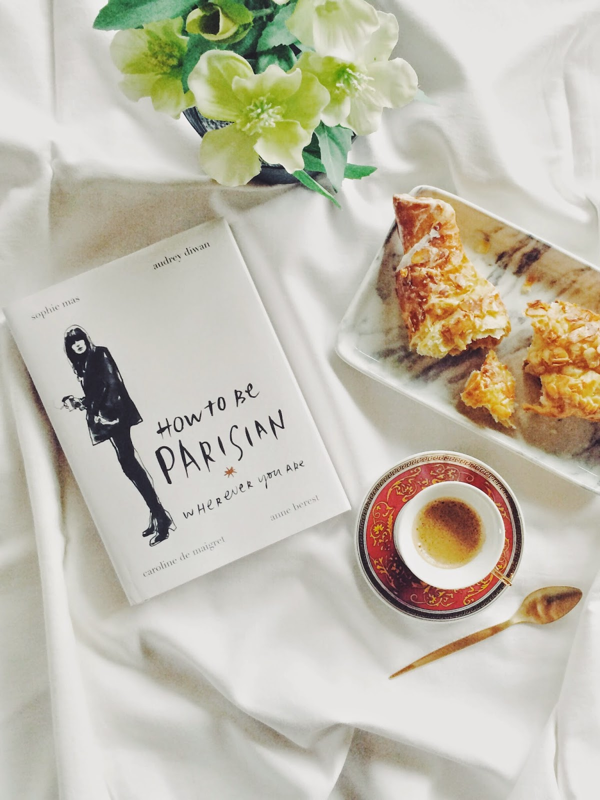 flatlay, flat lay, crossaint, esspresso, how to be parisian book