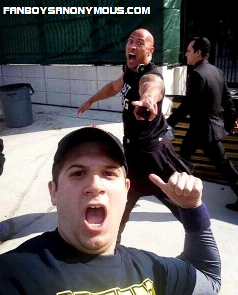 "WWE superstar and Fast & Furious actor Dwayne ""The Rock"" Johnson framed in selfie photobomb"