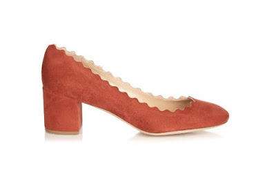 Chloe rust colored low heeled scalloped pumps
