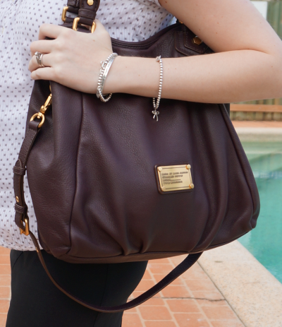 marc by marc jacobs carob brown Fran handbag worn on arm