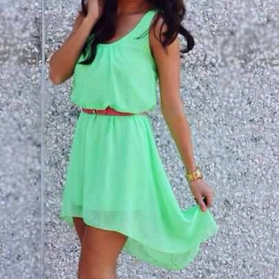 Light mint gown with wrist watch