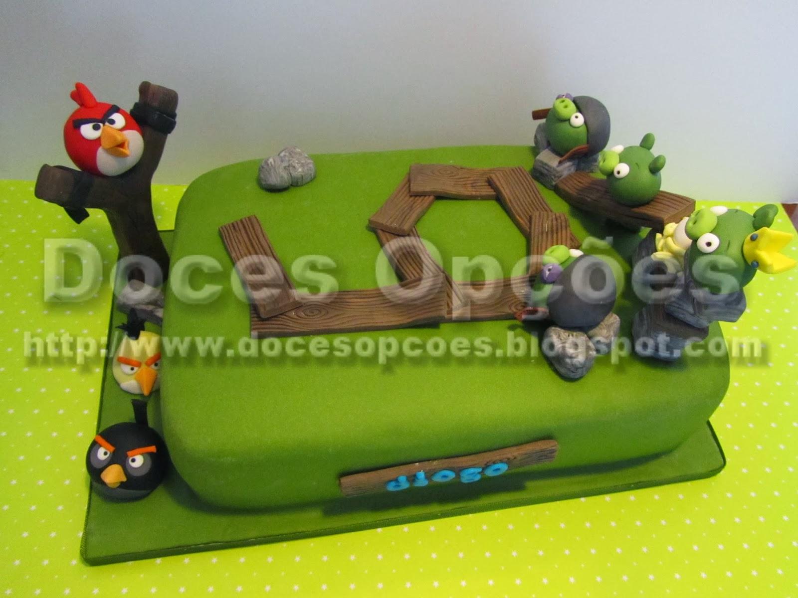 Bolo de aniversário do Diogo com os Angry Birds