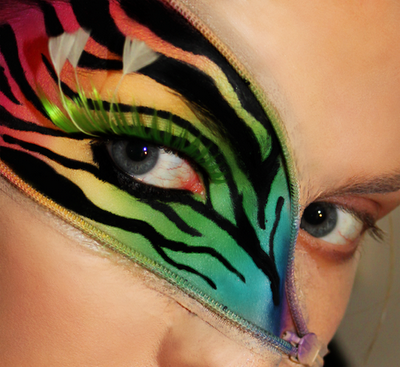 colorful rainbow zebra makeup