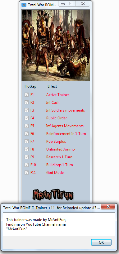 Total War ROME II  Trainer +11  for Reloaded update #3  MrAntiFun