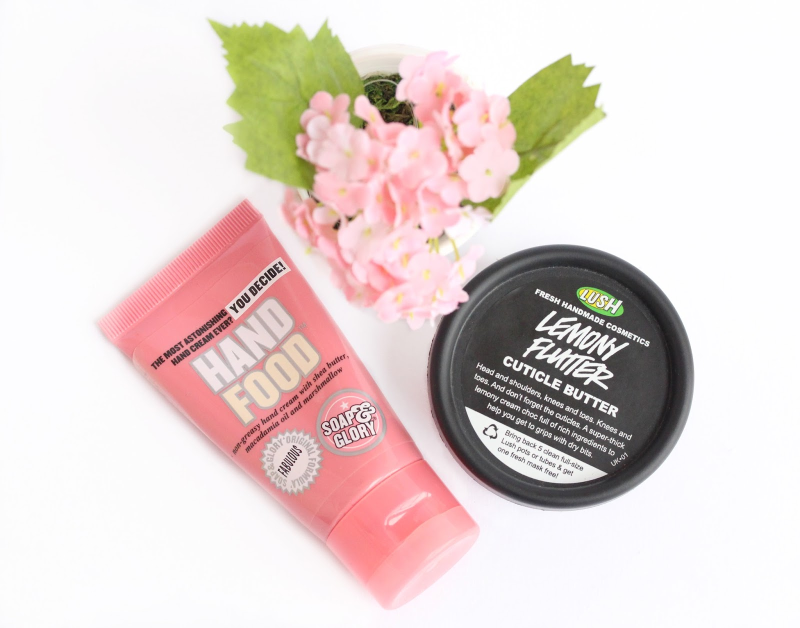 soap and glory hand food and lush lemony flutter