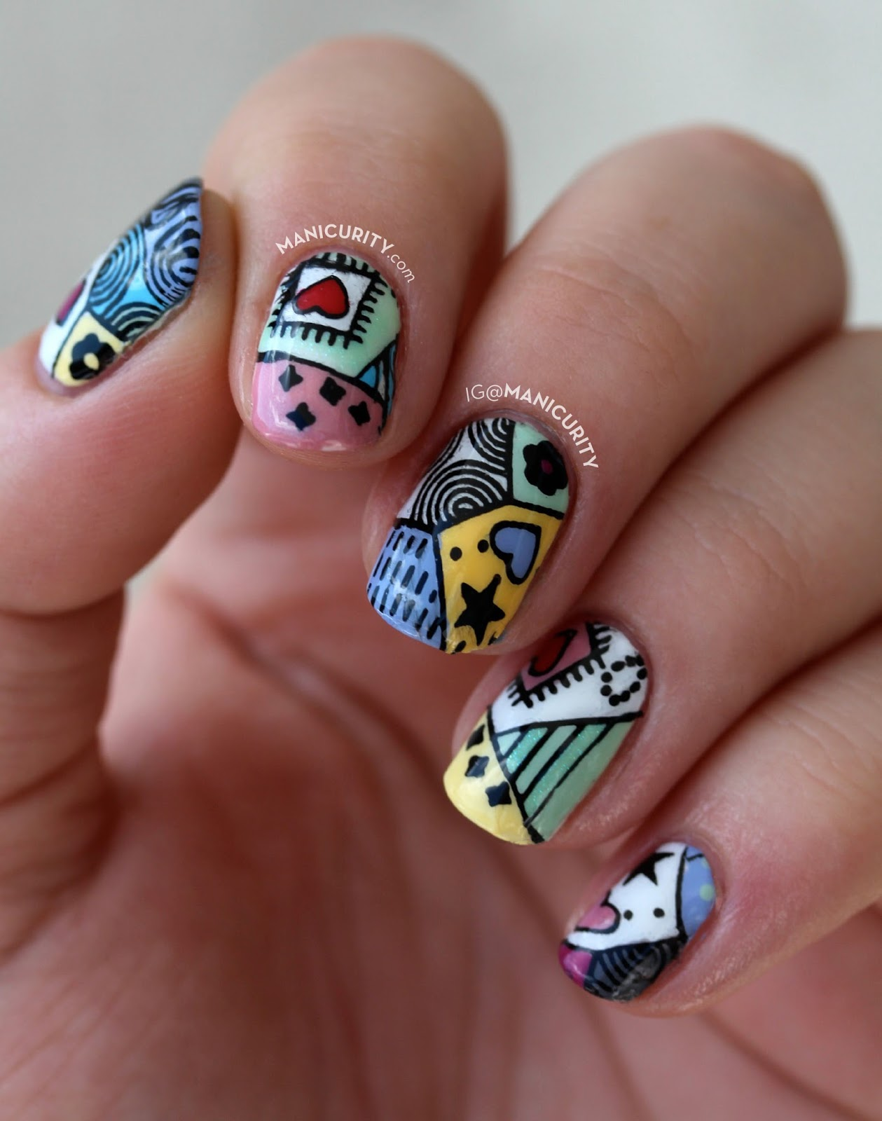The Digit-al Dozen does Cotton: A Patchwork Quilt-Inspired Manicure using DIY Stamping Decals | Manicurity.com @emmathea