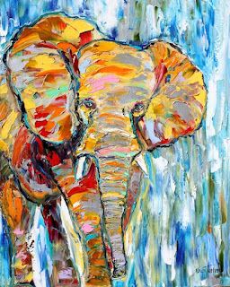 Palette Knife Painters, International: The Elephant - Original oil painting by Karen Tarlton