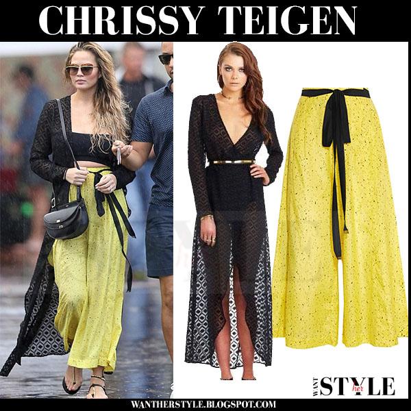 Chrissy Teigen in yellow wide leg pants what she wore