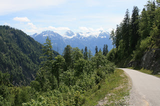 Alpine road on the way to Gosau, looking at Dachstein in the Austrian Alpsew