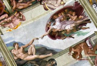 """""""La creación de Adán"""", de Miguel Ángel, en la Capilla Sixtina (Vaticano)."""