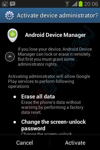 Langkah-langkah mengaktifkan Android Device Manager 4