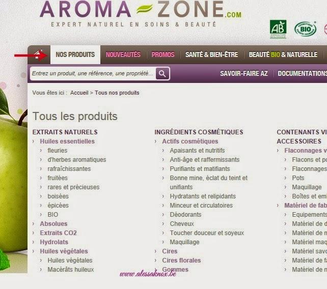 onglet nos produits aromazone