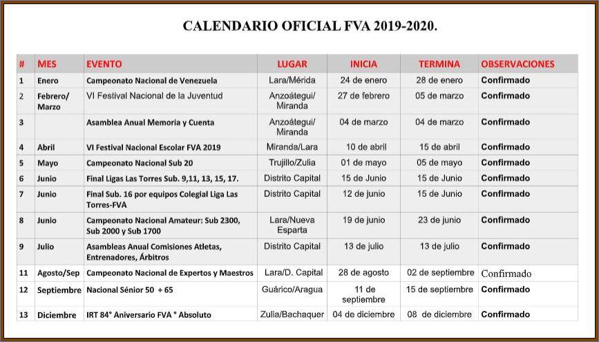 CALENDARIO FVA 2019