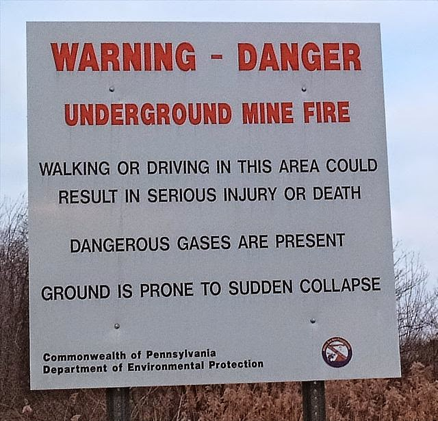 Warning Sign at Centralia, Pennsylvania