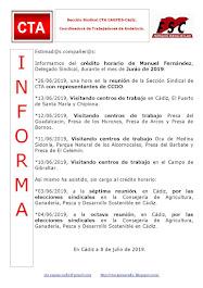 C.T.A. INFORMA CRÉDITO HORARIO MANUEL FERNANDEZ, JUNIO 2019