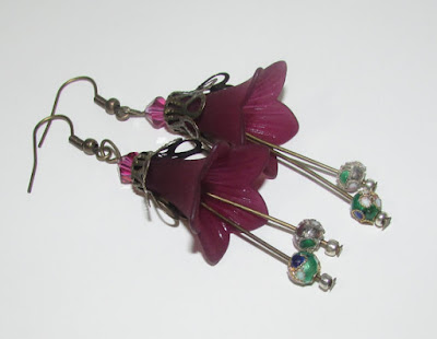 Long Plum Lucite Flower Earrings