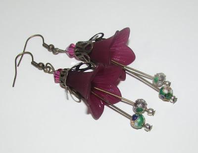 Long Plum Lucite Flower Earrings