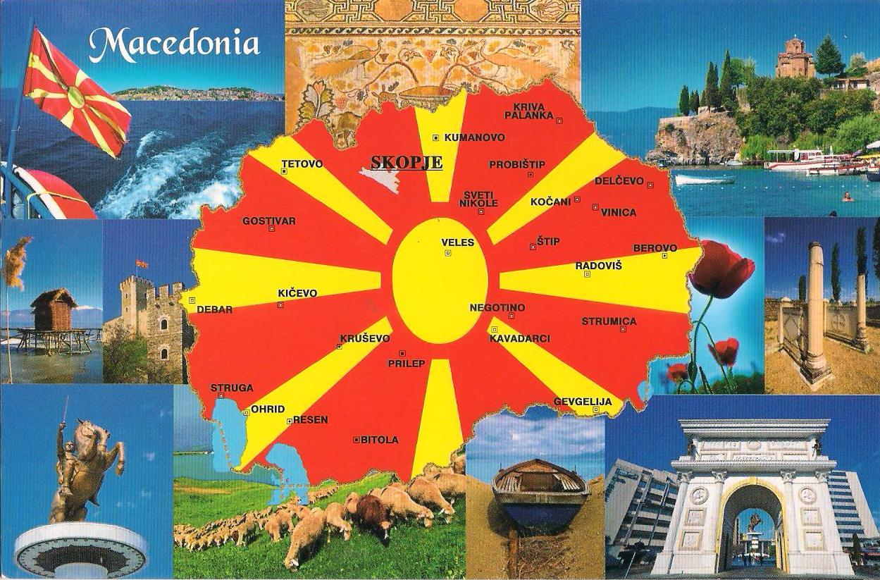 More Postcards Stamps Macedonia Mapcard