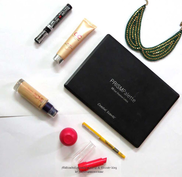 Monthly Favorites: May 2015 Edition, Monthly makeup favorites, Monthly beauty favorites, Indian makeup blog, Indian makeup blogger, Indian beauty blog, Indian beauty blogger, Indian makeup and beauty blogger, Rimmel extra super lash curve mascara, Lakme cc cream, Coastal scents eye shadow palette, Oriflame the one Illuskin foundation, Eos Lip balm