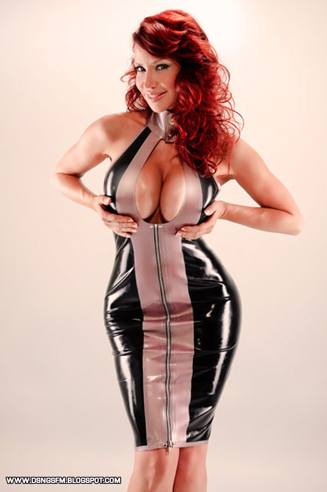 Big boobs red latex glovers 10
