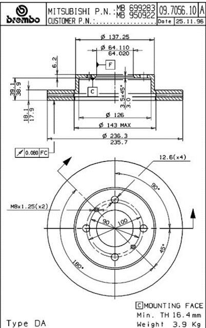 Brake Disc Mitsubishi  DAN GAN 92-94 (CB4A, CB8A, CK1, CK2, CK4) (09.7056.10)