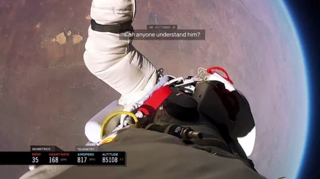 The spin where controllers lost touch with the daredevil is also revealed - What it's REALLY like to jump from space - New footage of Felix Baumgartner's jump