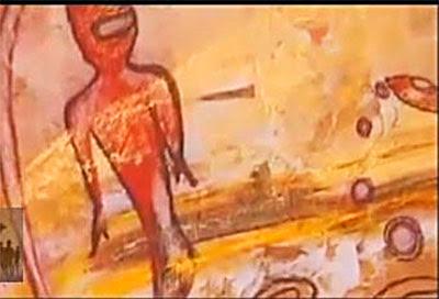 pintura rupestre con extraterrestres
