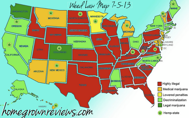 The Reaction - Us map of legal weed 2017