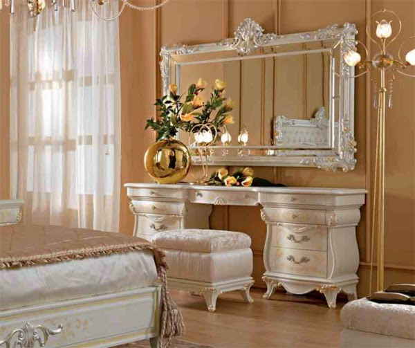Dressing Table Design In Beige Luxury Bedroom