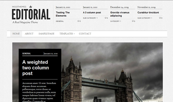 Editorial - Magazine Wordpress Theme Free Download by WooThemes.