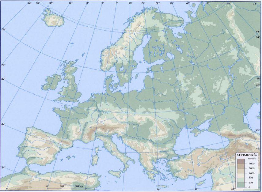 Mapa Fisico Mudo De Europa Rios Y Montaas