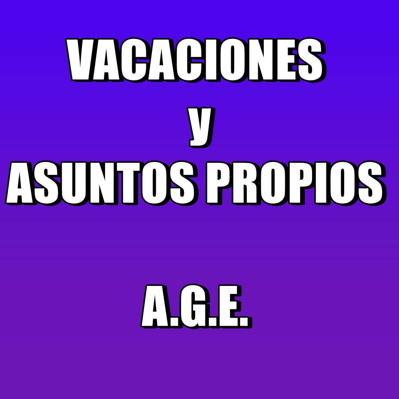 VACACIONES y AA PP  A.G.E.