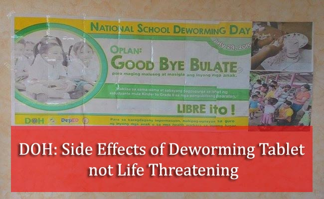 DOH: Side Effects of Deworming Tablet not Life Threatening