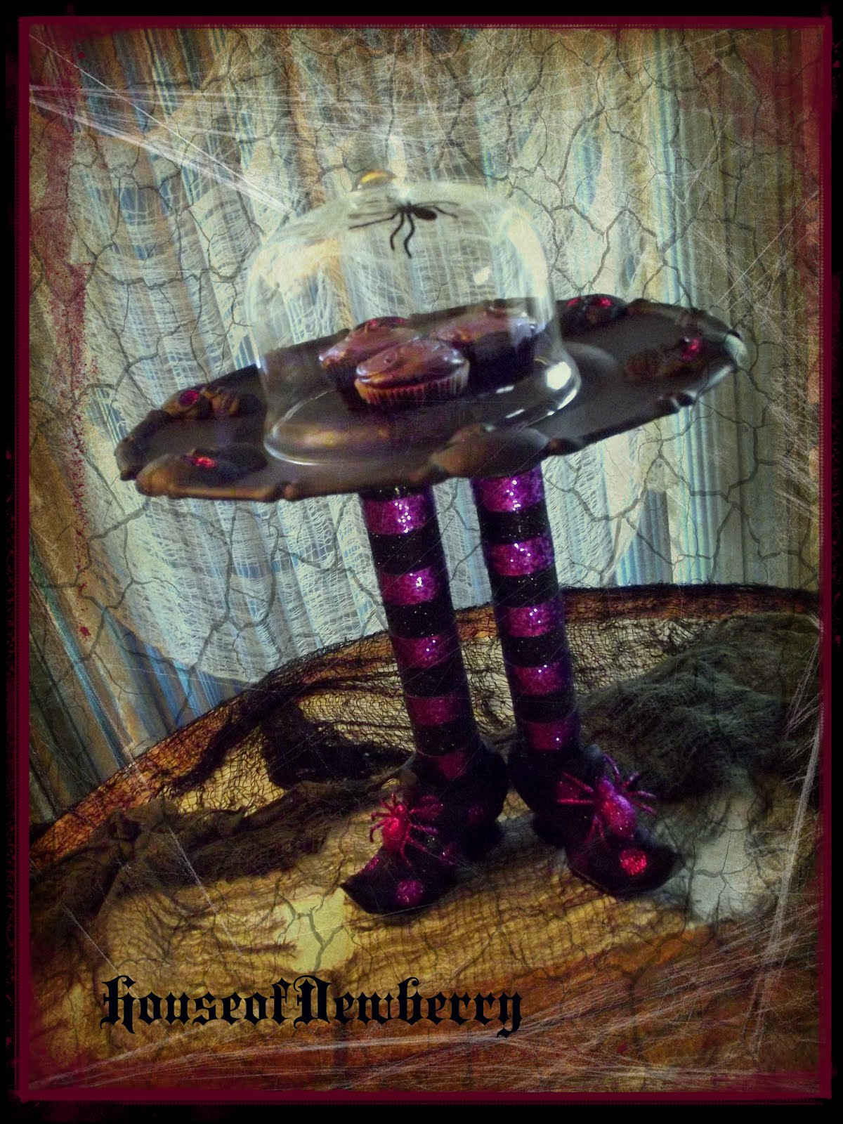 Another dollar store Halloween plate make over. Sometimes I just like to take a break from my more involved creations and do something fun fast and easy ... & House of Dewberry: Witches Shoes Cake Stand How-to