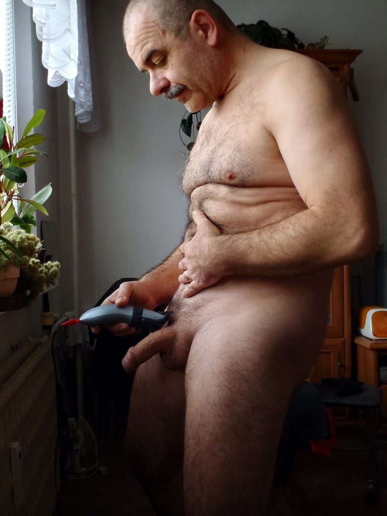 old man with mustache naked