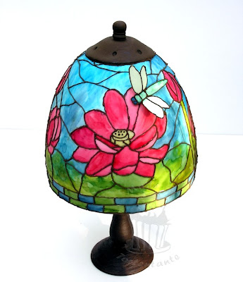 Tiffany Torte cake stained glass lotus dragonfly libelle