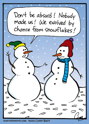 Funny Evolution Cartoon - Don't be absurd! Nobody made us! We evolved by chance from snowflakes!