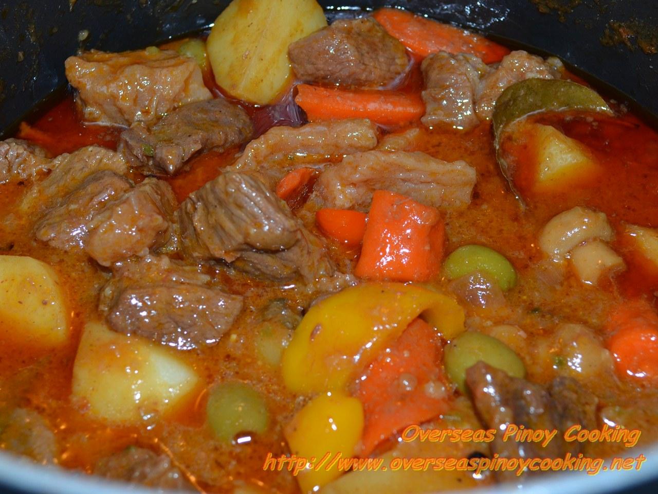Black Angus Beef Kaldereta - Cooking Procedure